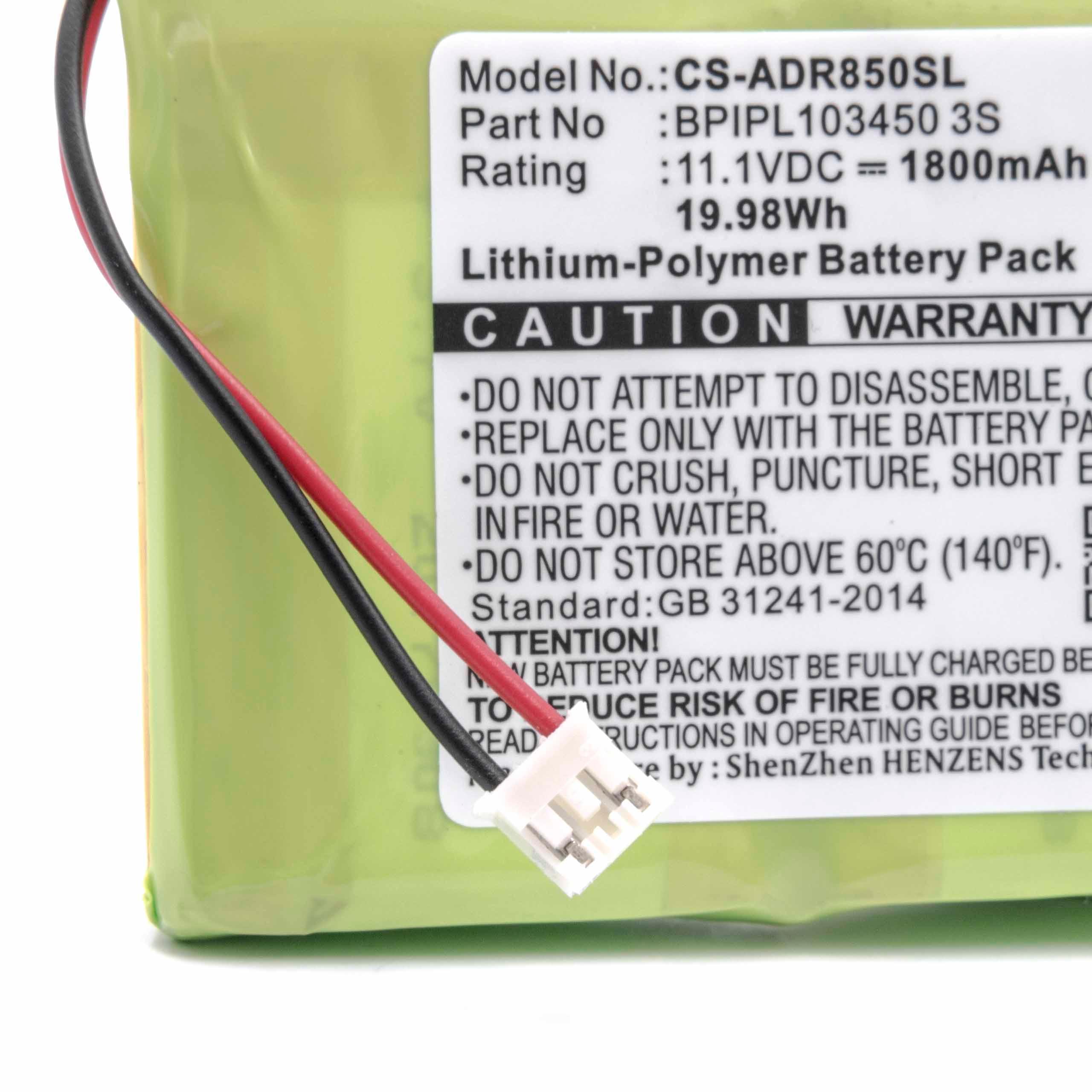 11,1V Akku Li-Ion für Albrecht DR 850 1800mAh ersetzt BPIPL103450 3S