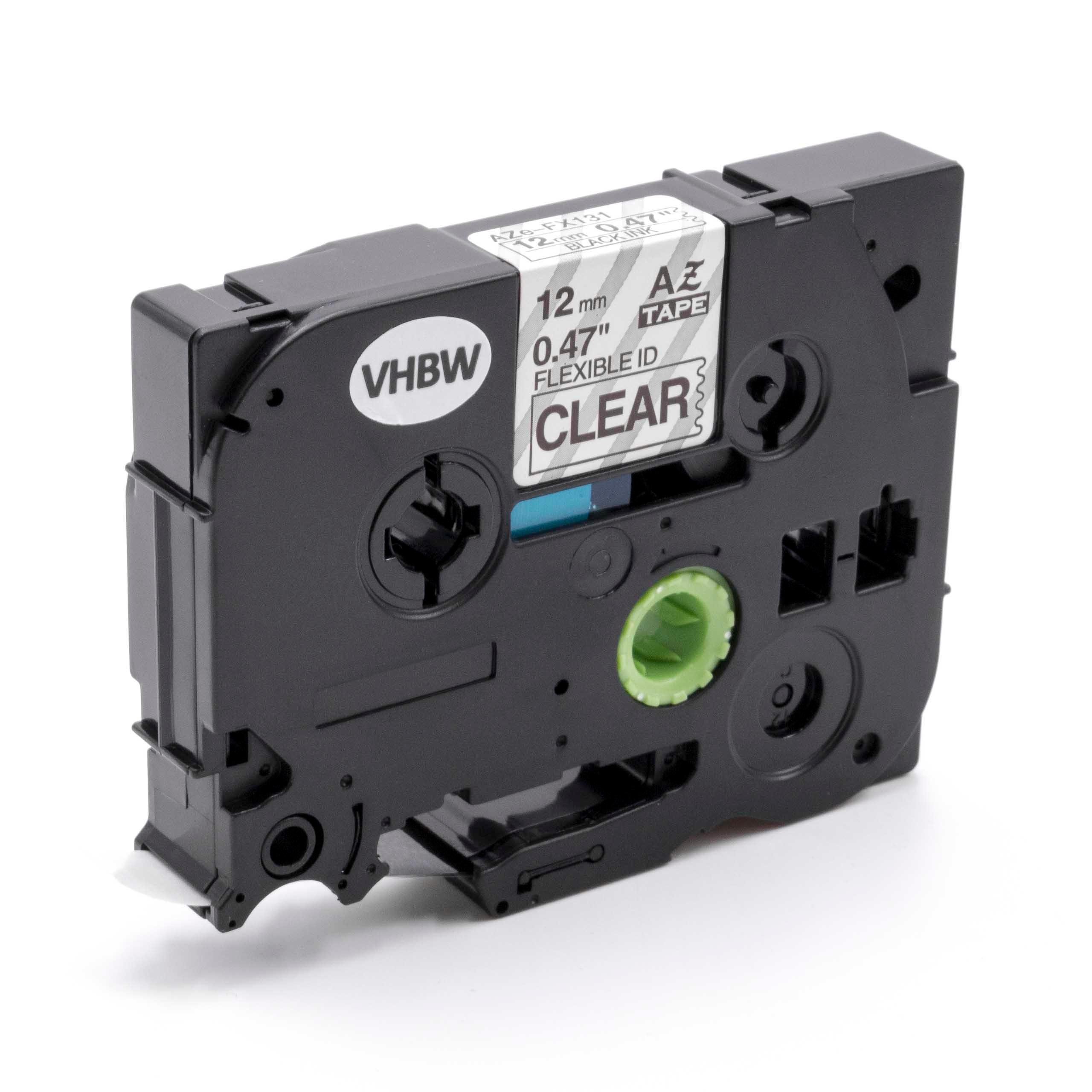 550a Label tape 12mm Nero Trasparente 550 Flexi per BROTHER 540 Series