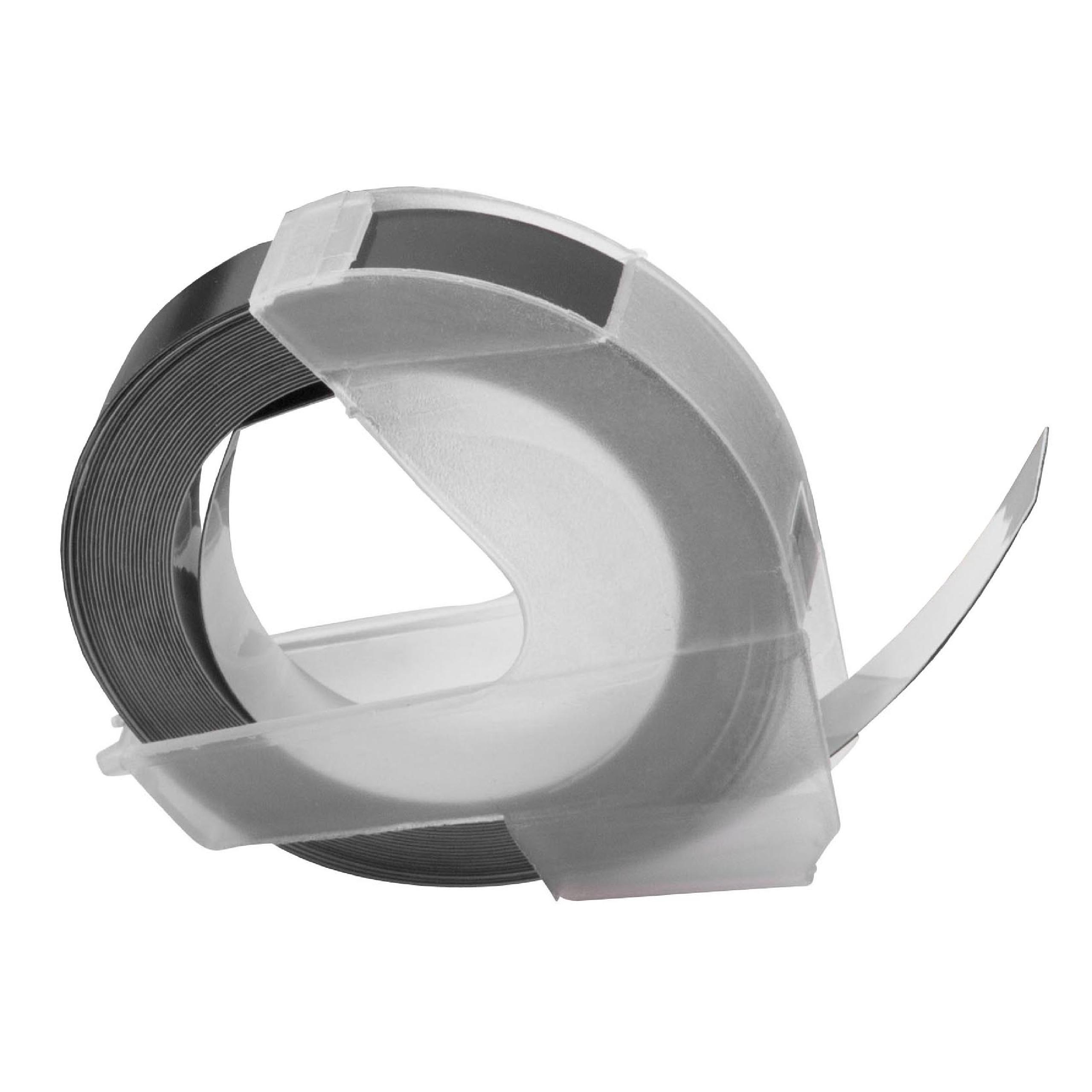 3x Prägeband Schriftband Kassette 3D 9mm weiß auf schwarz für Dymo 1755 1765