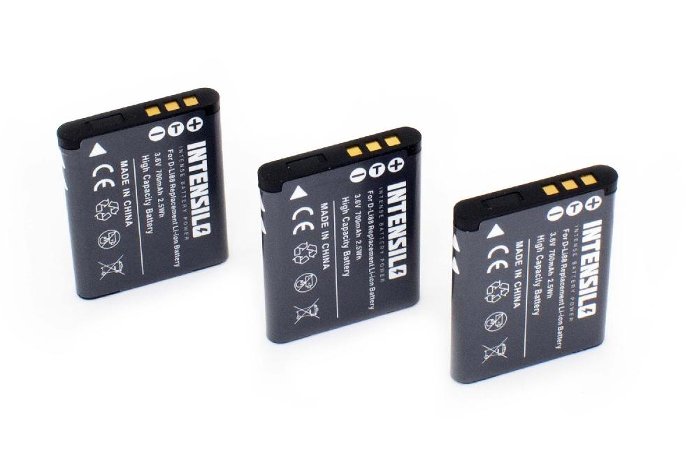 INTENSILO 3x BATTERIA 700mAh per Toshiba Camileo SX-900 PX-1686 PX1686